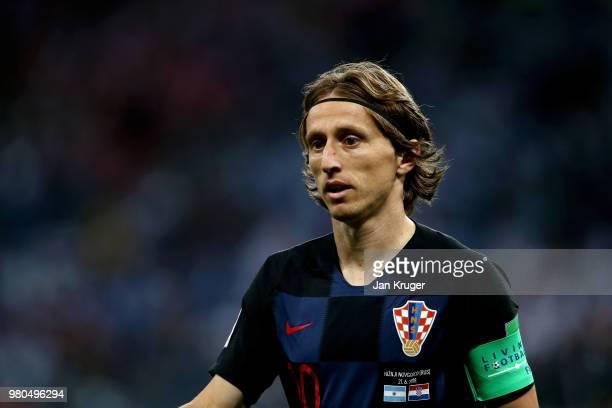 Luka Modric of Croatia looks on during the 2018 FIFA World Cup Russia group D match between Argentina and Croatia at Nizhny Novgorod Stadium on June...