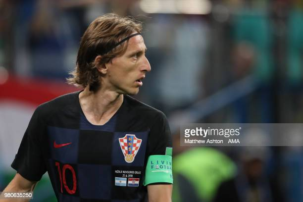 Luka Modric of Croatia looks on during the 2018 FIFA World Cup Russia group D match between Argentina and Croatia at Nizhny Novgorod Stadium on June...