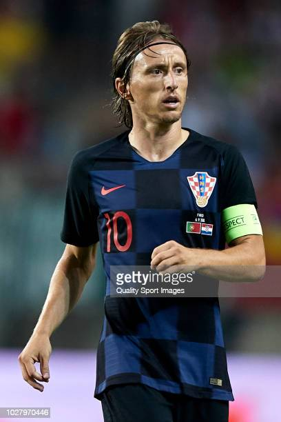 Luka Modric of Croatia looks on during the International Friendly match between Portugal and Croatia at Algarve Stadium on September 6, 2018 in Faro,...