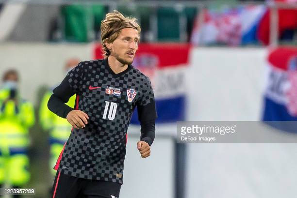 Luka Modric of Croatia Looks on during the international friendly match between Switzerland and Croatia at Kybunpark on October 7, 2020 in St Gallen,...