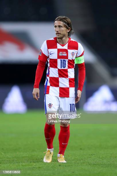 Luka Modric of Croatia looks on during the UEFA Nations League group stage match between Sweden and Croatia at Friends Arena on November 14, 2020 in...