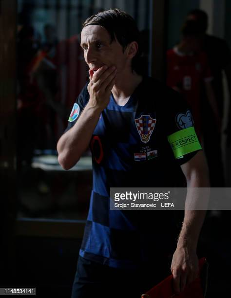 Luka Modric of Croatia looks on prior to the UEFA Euro 2020 Qualifiers Group E match between Croatia and Wales at stadium Gradski Vrt on June 8 2019...