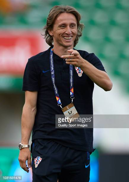 Luka Modric of Croatia looks on prior to the UEFA Nations League A group four match between Spain and Croatia at Manuel Martinez Valero Stadium on...