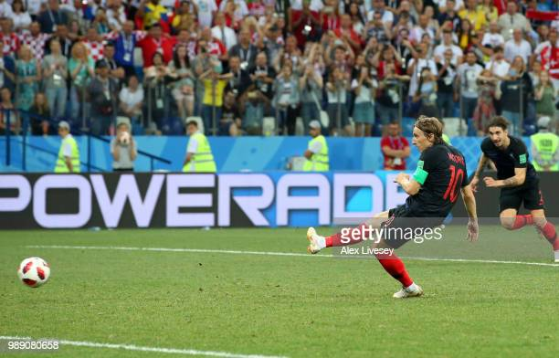 Luka Modric of Croatia misses a penalty during the 2018 FIFA World Cup Russia Round of 16 match between Croatia and Denmark at Nizhny Novgorod...