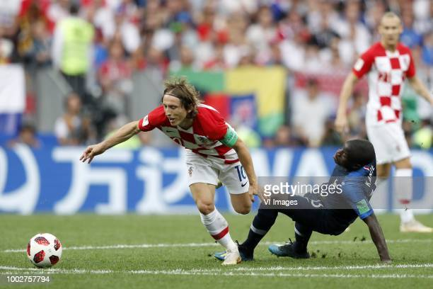 Luka Modric of Croatia Ngolo Kante of France during the 2018 FIFA World Cup Russia Final match between France and Croatia at the Luzhniki Stadium on...