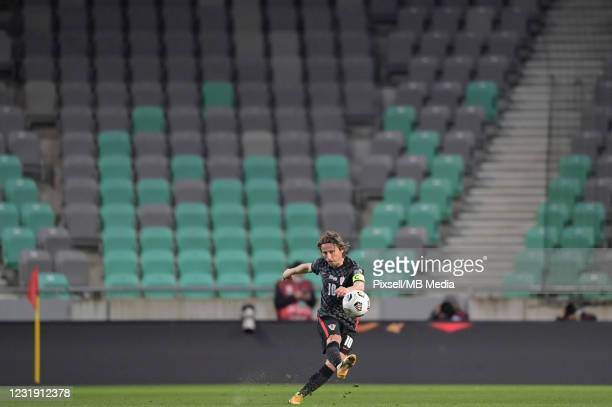 Luka Modric of Croatia passes the ball during the FIFA World Cup 2022 Qatar qualifying match between Slovenia and Croatia on March 24, 2021 at...