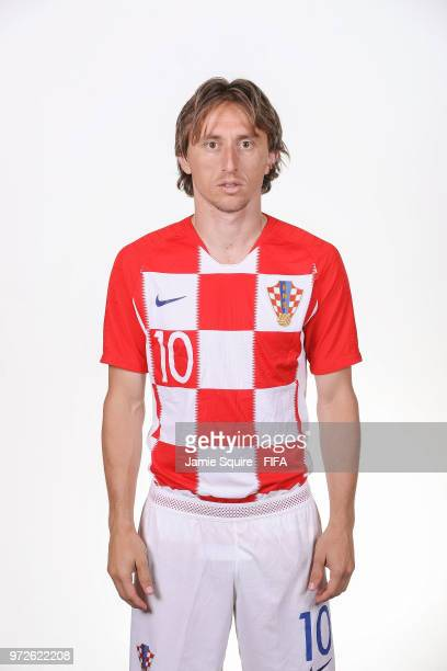 Luka Modric of Croatia poses during the official FIFA World Cup 2018 portrait session at on June 12 2018 in Saint Petersburg Russia