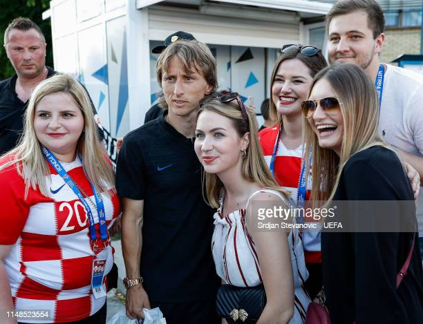 Luka Modric of Croatia poses for a photo with fans after the UEFA Euro 2020 Qualifiers Group E match between Croatia and Wales at stadium Gradski Vrt...