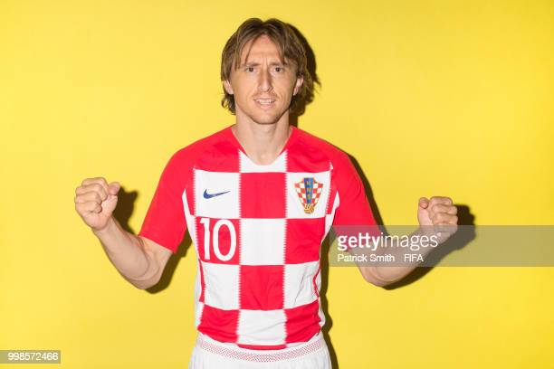 Luka Modric of Croatia poses for a portrait during the official FIFA World Cup 2018 portrait session at Woodland Rhapsody Resort on June 12 2018 in...