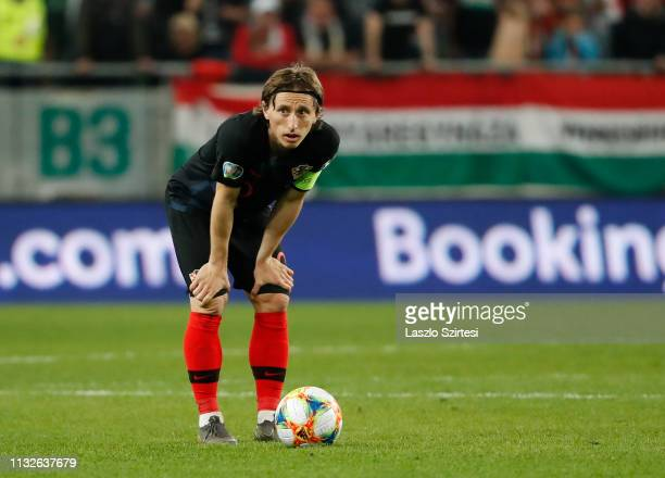 Luka Modric of Croatia prepares for a free kick during the 2020 UEFA European Championships group E qualifying match between Hungary and Croatia at...