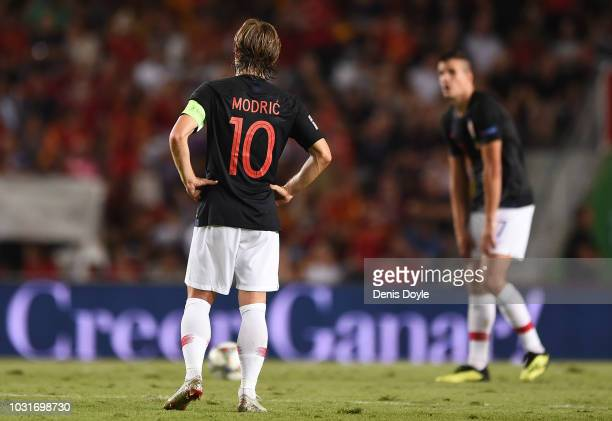 Luka Modric of Croatia reacts after Spain scored their 6th goal during the UEFA Nations League A group four match between Spain and Croatia at...