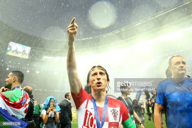 Luka Modric of Croatia reacts at the end of of the 2018 FIFA World Cup Russia Final between France and Croatia at Luzhniki Stadium on July 15 2018 in...