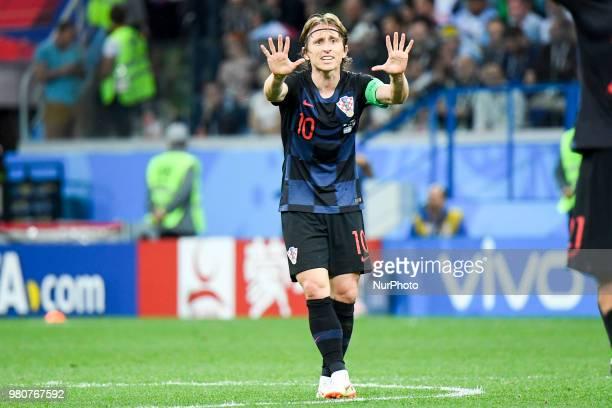 Luka Modric of Croatia reacts during the FIFA World Cup Group D match between Argentina and Croatia at Nizhny Novogorod Stadium in Nizhny Novogorod...