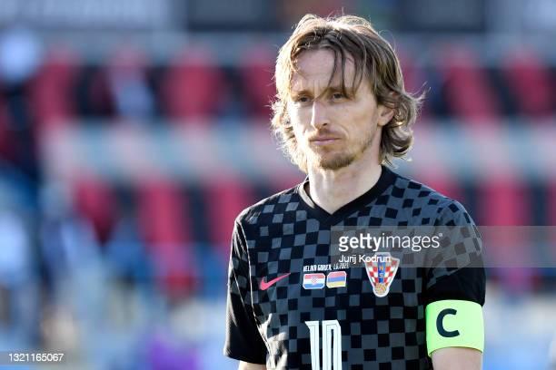 Luka Modric of Croatia reacts during the international friendly match between Croatia and Armenia at Gradski Stadium on June 01, 2021 in Velika...