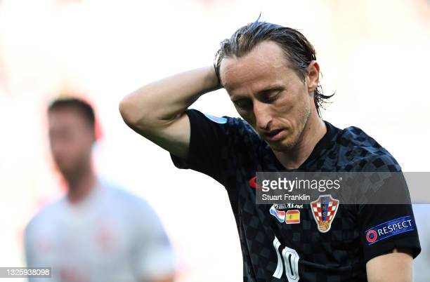 Luka Modric of Croatia reacts during the UEFA Euro 2020 Championship Round of 16 match between Croatia and Spain at Parken Stadium on June 28, 2021...