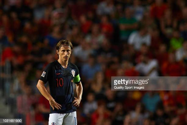 Luka Modric of Croatia reacts during the UEFA Nations League A group four match between Spain and Croatia at Manuel Martinez Valero Stadium on...