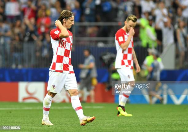 Luka Modric of Croatia reacts following France second goal during the 2018 FIFA World Cup Final between France and Croatia at Luzhniki Stadium on...