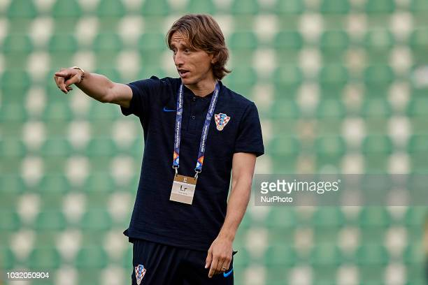 Luka Modric of Croatia reacts prior to the UEFA Nations League A group four match between Spain and Croatia at Martinez Valero on September 11 2018...