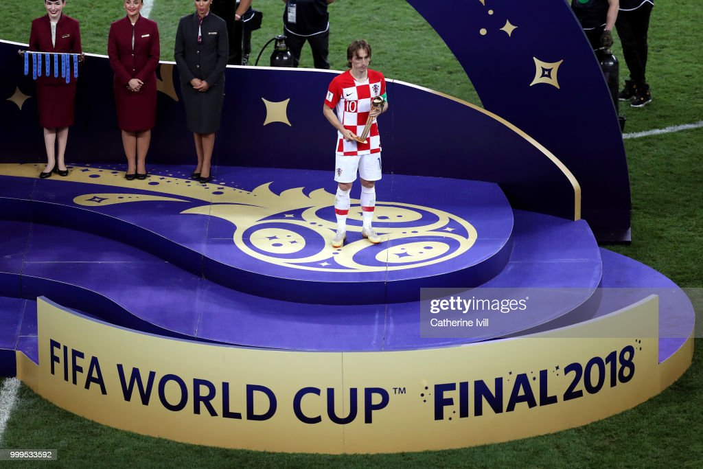 sale retailer 6871d e0ce7 Luka Modric of Croatia receives the adidas Golden Ball award ...