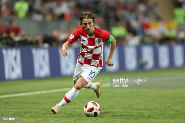 Luka Modric of Croatia runs with the ball during the 2018 FIFA World Cup Final between France and Croatia at Luzhniki Stadium on July 15, 2018 in...