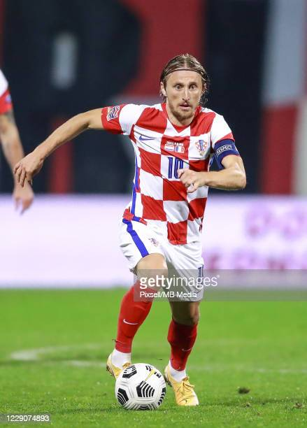 Luka Modric of Croatia runs with the ball during the UEFA Nations League Group A3 stage match between Croatia and France at Maksimir Stadium on...