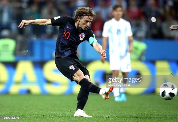 Luka Modric of Croatia scores his team's second goal during the 2018 FIFA World Cup Russia group D match between Argentina and Croatia at Nizhny...