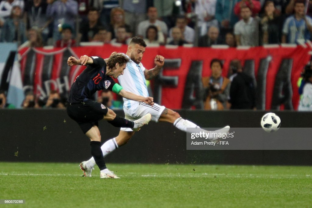 Luka Modric of Croatia scores his team's second goal during the 2018 FIFA World Cup Russia group D match between Argentina and Croatia at Nizhny Novgorod Stadium on June 21, 2018 in Nizhny Novgorod, Russia.