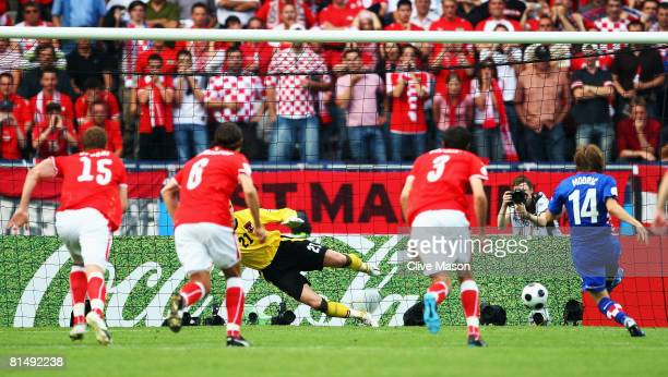 Luka Modric of Croatia scores the opening goal from the penalty spot during the UEFA EURO 2008 Group B match between Austria and Croatia at Ernst...