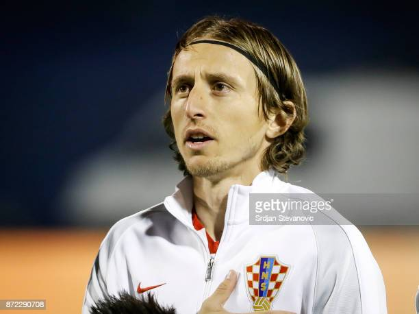Luka Modric of Croatia sing national anthem prior to the FIFA 2018 World Cup Qualifier PlayOff First Leg between Croatia and Greece at Stadion...