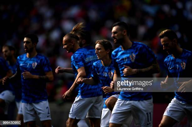 Luka Modric of Croatia warms up prior to the 2018 FIFA World Cup Final between France and Croatia at Luzhniki Stadium on July 15 2018 in Moscow Russia