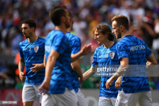 Luka Modric of Croatia warms up with team mates ahead of the 2018 FIFA World Cup Final between France and Croatia at Luzhniki Stadium on July 15 2018...