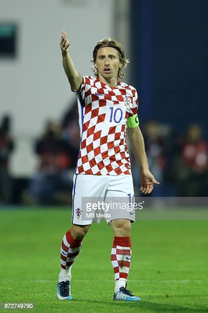 Luka Modric of Croatia waves to his teammates during the FIFA 2018 World Cup Qualifier playoff first leg match between Croatia and Greece at Maksimir...