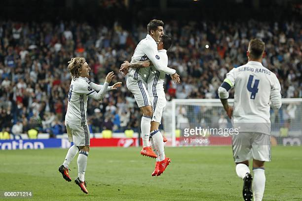 Luka Modric of Real Madrid Alvaro Morata of Real Madrid James Rodriguez of Real Madrid Sergio Ramos of Real Madrid during the UEFA Champions League...