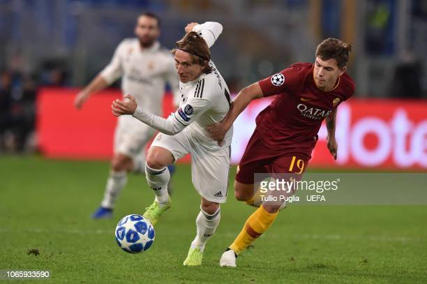Luka Modric of Real Madrid and Ante Coric of Roma compete for the ball during the Group G match of the UEFA Champions League between AS Roma and Real...
