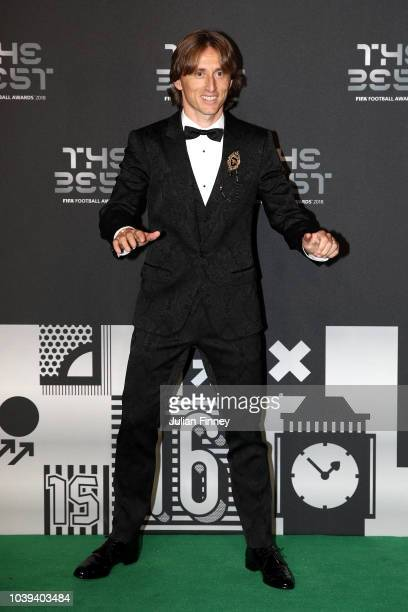 Luka Modric of Real Madrid arrives on the Green Carpet ahead of The Best FIFA Football Awards at Royal Festival Hall on September 24 2018 in London...