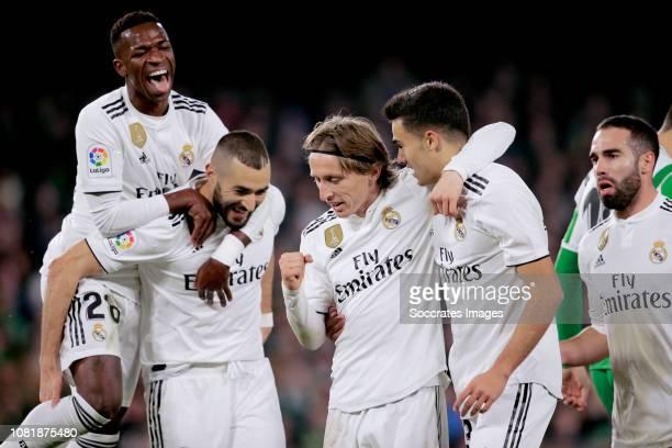 Luka Modric of Real Madrid celebrates 01 with Vinicius Junior of Real Madrid Karim Benzema of Real Madrid Sergio Reguilon of Real Madrid Dani...
