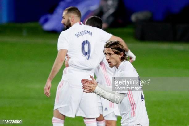 Luka Modric of Real Madrid celebrates 0-2 during the La Liga Santander match between Eibar v Real Madrid at the Estadio Municipal de Ipurua on...