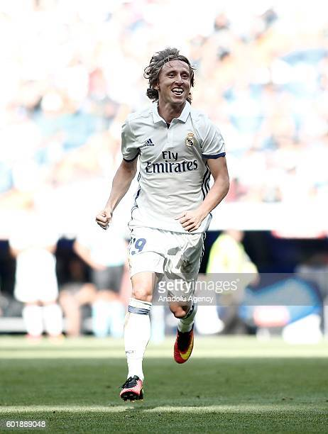 Luka Modric of Real Madrid celebrates after scoring a goal during the La Liga soccer match between Real Madrid and Osasuna at the Santiago Bernabeu...