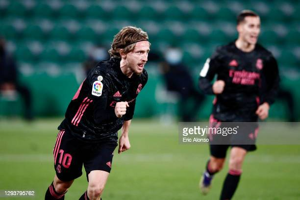 Luka Modric of Real Madrid celebrates after scoring his sides first goal during the La Liga Santander match between Elche CF and Real Madrid at...