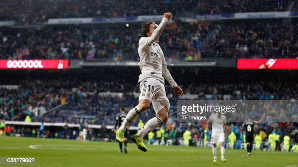 Luka Modric of Real Madrid celebrates after scoring his team's second goal during the La Liga match between Real Madrid and FC Sevilla at Santiago...