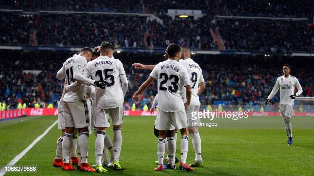 Luka Modric of Real Madrid celebrates after scoring his team's second goal with team mates during the La Liga match between Real Madrid and FC...