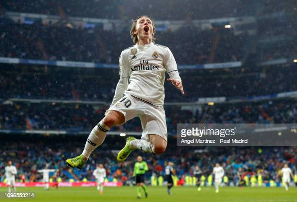 Luka Modric of Real Madrid celebrates after scoring his team's second goal during the La Liga match between Real Madrid CF and Sevilla FC at Estadio...