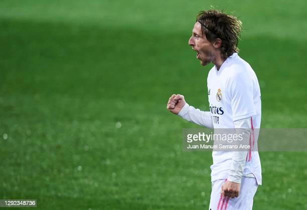 Luka Modric of Real Madrid celebrates after scoring his team's second goal during the La Liga Santander match between SD Eibar and Real Madrid at...
