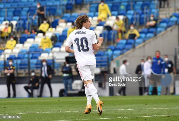 Luka Modric of Real Madrid celebrates after scoring their side's second goal during the La Liga Santander match between Real Madrid and Villarreal CF...