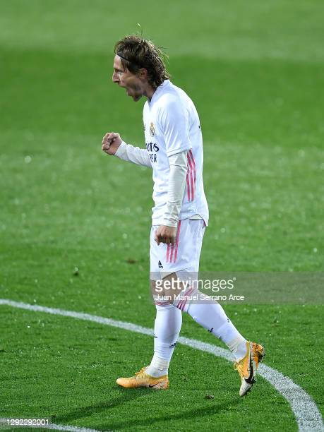 Luka Modric of Real Madrid celebrates after scoring their team's second goal during the La Liga Santander match between SD Eibar and Real Madrid at...