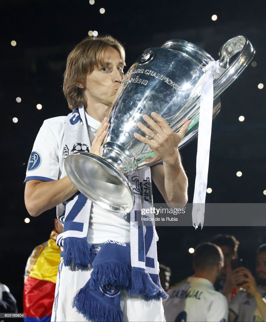 Luka Modric of Real Madrid celebrates their UEFA Champions League victory at Cibeles square on June 4, 2017 in Madrid, Spain.