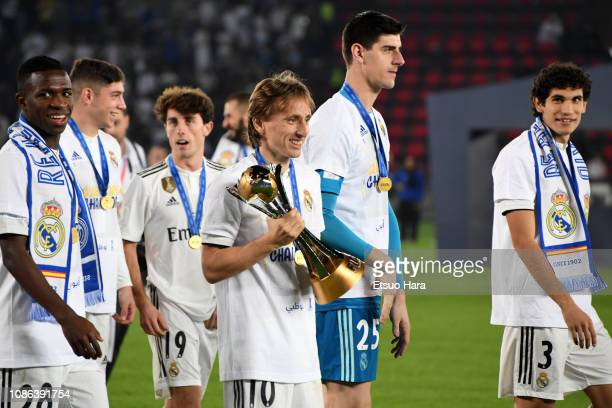 Luka Modric of Real Madrid celebrates with the trophy after the FIFA Club World Cup UAE 2018 Final between Real Madrid and Al Ain at the Zayed Sports...