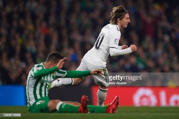 Luka Modric of Real Madrid CF celebrates after scoring during the La Liga match between Real Betis Balompie and Real Madrid CF at Estadio Benito...