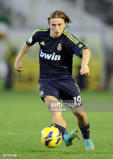 Luka Modric of Real Madrid CF controls the ball during the La Liga match between Real Betis Balompie and Real Madrid CF at Estadio Benito Villamarin...