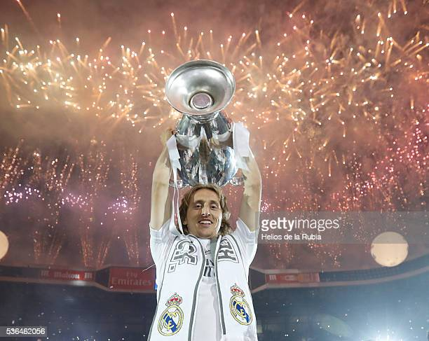 Luka Modric of Real Madrid CF during Real Madrid CF team celebration at Santiago Bernabeu Stadium the day after winning the UEFA Champions League...